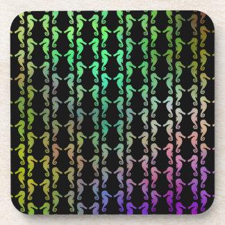 Black and Multicolor Seahorse Pattern. Coaster