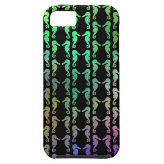 Black and Multicolor Seahorse Pattern. Tough iPhone 5 Case