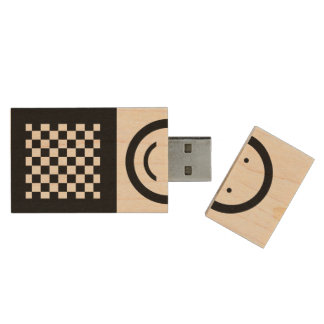 Black and natural wood squares - Happy face Wood USB Flash Drive