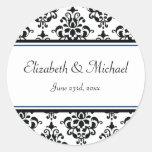 Black and Navy Damask Round Wedding Favour Label Round Stickers