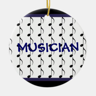 Black and Navy Musical Notes - Musician Round Ceramic Decoration