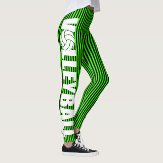 Black and Neon Green Striped Volleyball Leggings