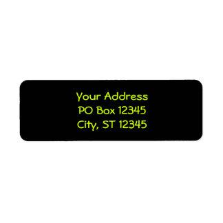 Black and Neon Yellow Return Address Label