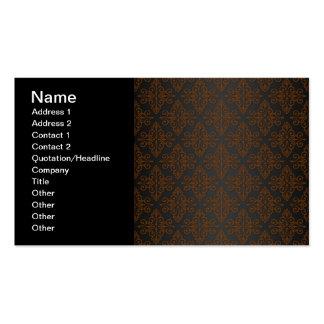 Black and Orange Bronze Damask Business Card Template