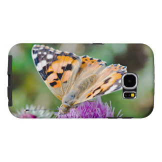 Black and Orange Butterfly on Flower Samsung Galaxy S6 Cases