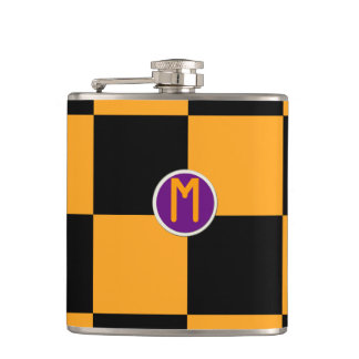 Black and Orange Check Pattern Hip Flask