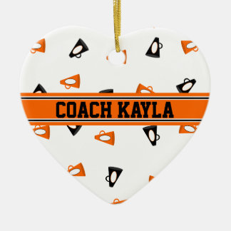 Black and Orange Cheer Megaphones Personalized Christmas Ornament