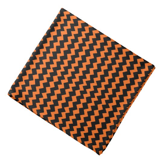 Black and Orange Chevron Bandana