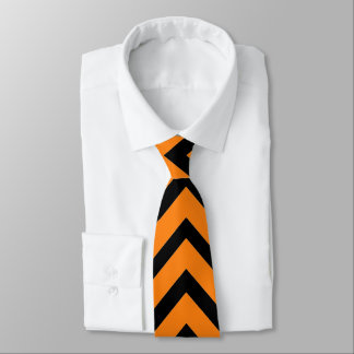 Black and orange chevron pattern tie