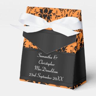 Black and orange damask wedding favour box