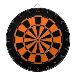 black and orange dart board
