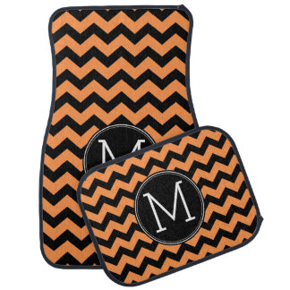 Black and Orange Halloween Chevrons Monogram Car Mat