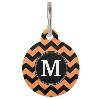 Black and Orange Halloween Chevrons Monogram Pet Tag