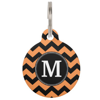Black and Orange Halloween Chevrons Monogram Pet Tags
