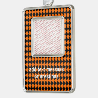 Black And Orange Halloween Diamond Rows Silver Plated Framed Ornament