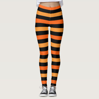 Black and Orange Halloween Stripe Leggings