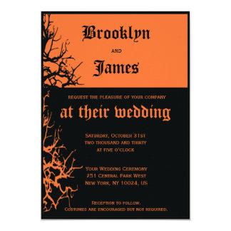 Black And Orange Halloween Wedding Invitations