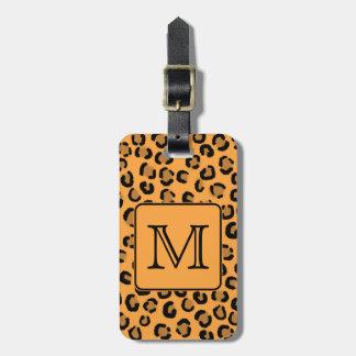 Black and Orange Leopard Print. Custom Monogram. Luggage Tag