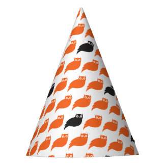 Black and Orange Owls Party Hat