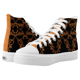 black and orange pattern high tops
