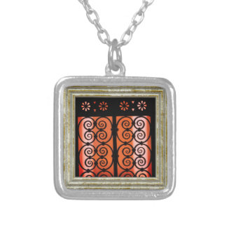 Black And Orange Pattern Silver Plated Necklace