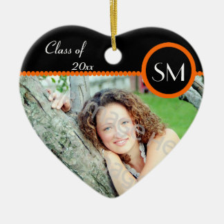 Black and Orange Photo Graduation Ornament