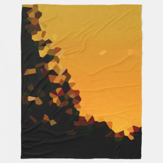 Black and Orange Pixel Mosaic Shape Abstract Fleece Blanket