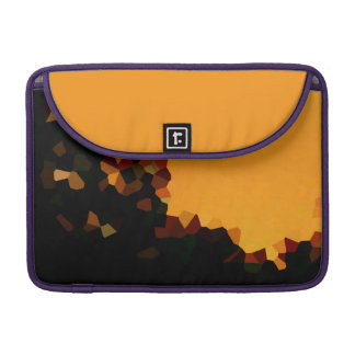 Black and Orange Pixel Mosaic Shape Abstract Sleeve For MacBooks