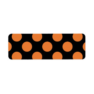 Black and Orange Polka Dots Return Address Label