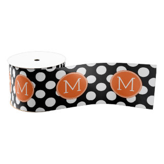 Black and Orange Polka Dots with Custom Monogram Grosgrain Ribbon