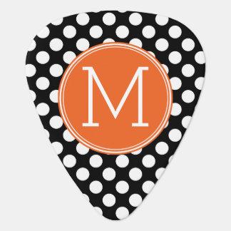 Black and Orange Polka Dots with Custom Monogram Guitar Pick