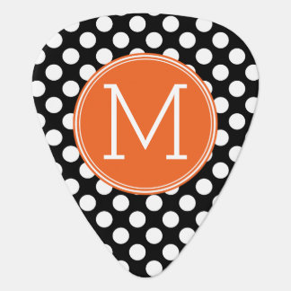 Black and Orange Polka Dots with Custom Monogram Guitar Pick