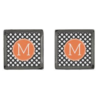 Black and Orange Polka Dots with Custom Monogram Gunmetal Finish Cuff Links