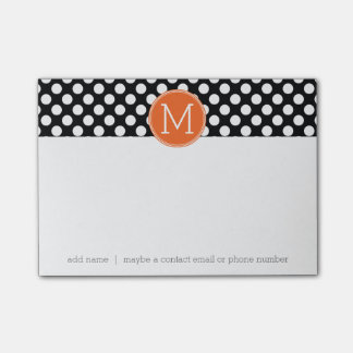 Black and Orange Polka Dots with Custom Monogram Post-it Notes