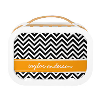 Black and Orange Preppy Chevron Monogram Lunch Box