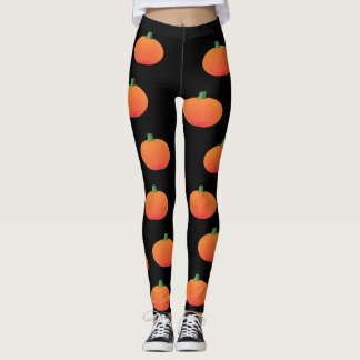 Black and Orange Pumpkin Halloween Leggings
