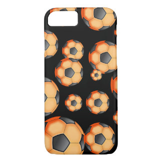 Black and orange Soccer Design iPhone 7 Case
