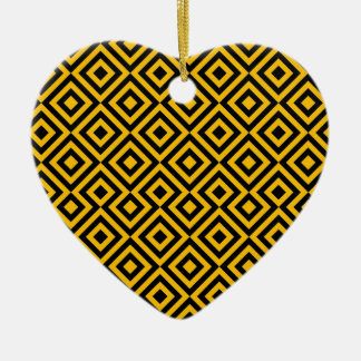 Black And Orange Square 001 Pattern Ceramic Heart Decoration