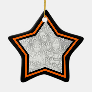 Black and Orange Star Frame Ornament