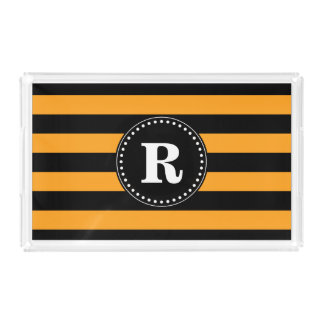 Black and orange stripes pattern acrylic tray