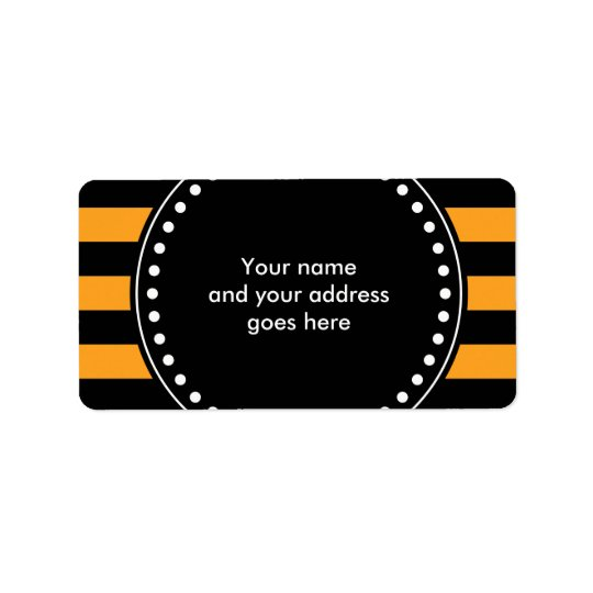 Black and orange stripes pattern address label