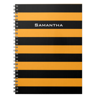 Black and orange stripes pattern note book