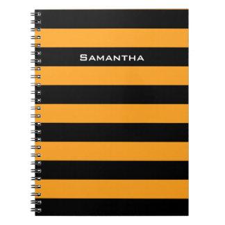Black and orange stripes pattern notebook