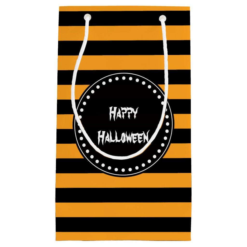 Black and orange stripes gift bag