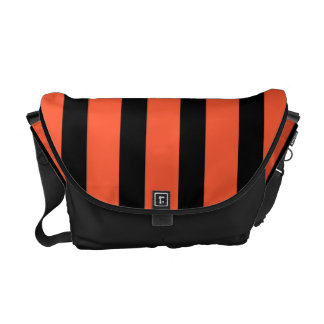 Black And Orange Stripes Retro Pattern Courier Bags