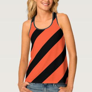 Black And Orange Stripes Retro Pattern Tank Top