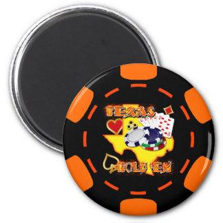 BLACK AND ORANGE TEXAS HOLD 'EM POKER CHIP 6 CM ROUND MAGNET