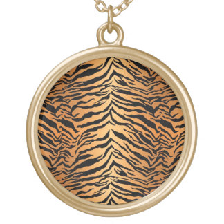 Black and Orange Tiger Print Gold Plated Necklace