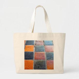 Black and Orange Tiles Tote Bags