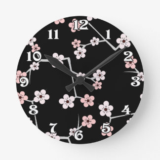 Black and Pale Pink Cherry Blossom Print Round Wall Clock
